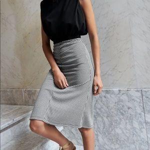 Zara TRF blk & white gingham plaid skirt